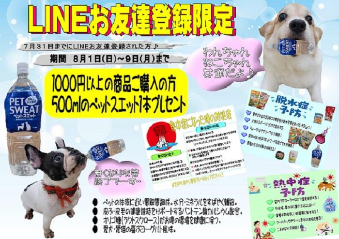 8月のLINEお友達限定プレゼントლ(╹◡╹ლ).。.:✽・゚+